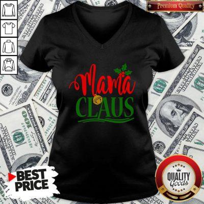 Funny Mama Santa Claus Hat Christmas Matching Family Group Pajama V-neck - Design By Waretees.com