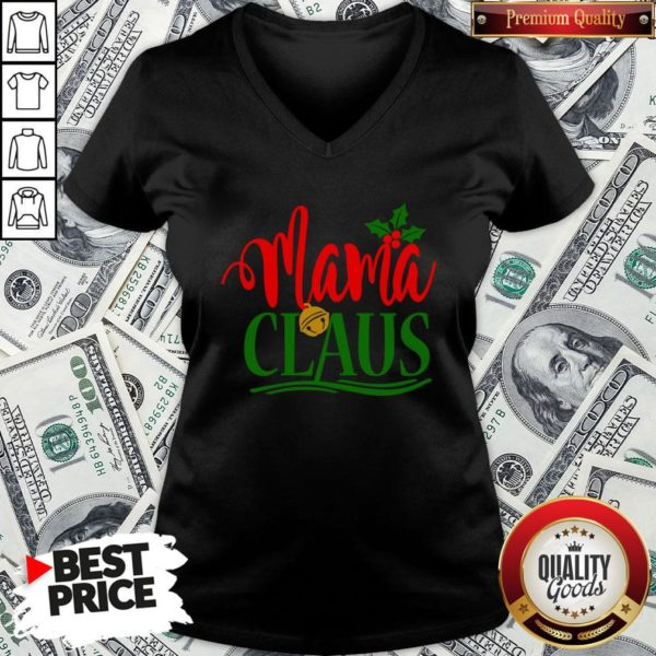 Funny Mama Santa Claus Hat Christmas Matching Family Group Pajama V-neck - Design By Waretees.com