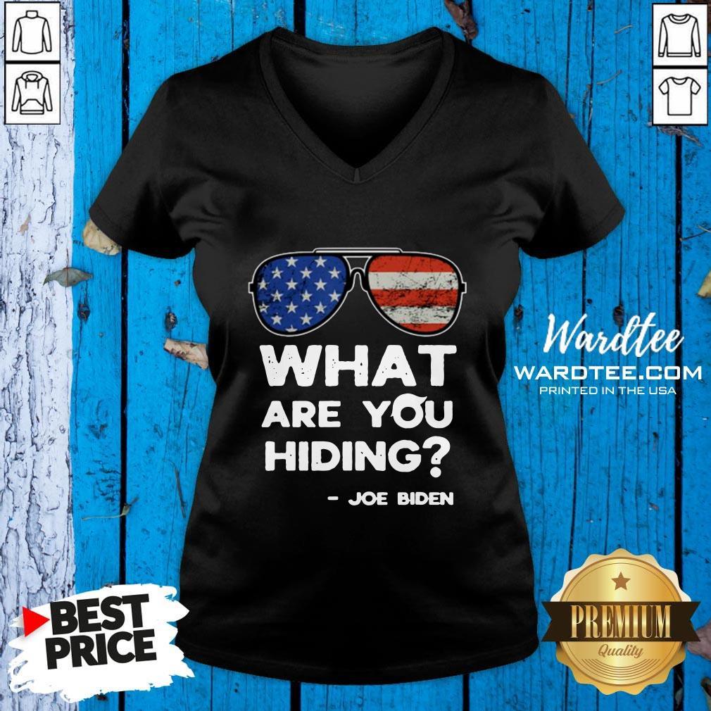 Funny What Are You Hiding – Presidential Debate 2020 Joe Biden V-neck Design By Waretees.com