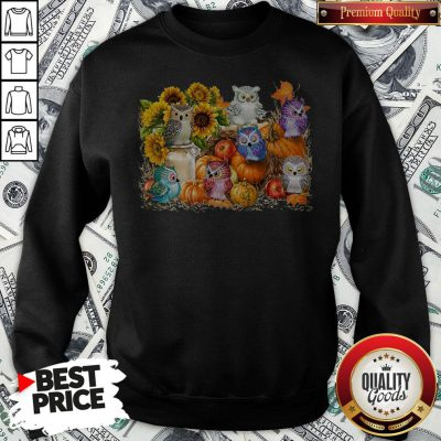Good Owls Pumpkin Sunflower Halloween Sweatshirt- Design By Waretees.com