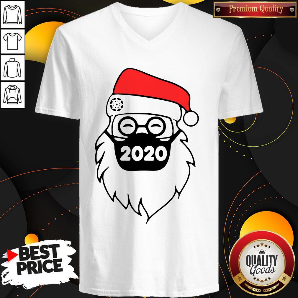 Good Santa Wearing Mask 2020 Christmas V-neck - Design By Waretees.com