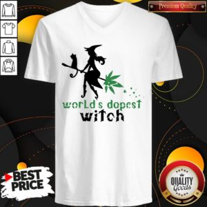 Good Weed Worlds Dopest Witch V-neck - Design By Waretees.com