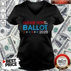 Grab Him By The Ballot Joe Biden And Kamala Harris 2020 V-neck - Design By Waretees.com