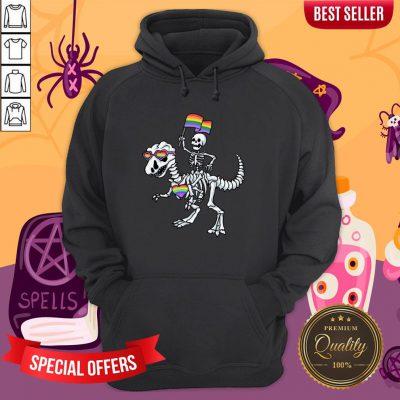 Halloween LGBT T Rex Dinosaur Skeleton Gay Pride Hoodie