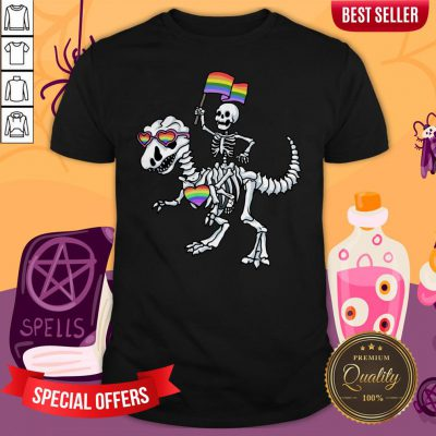 Halloween LGBT T Rex Dinosaur Skeleton Gay Pride Shirt