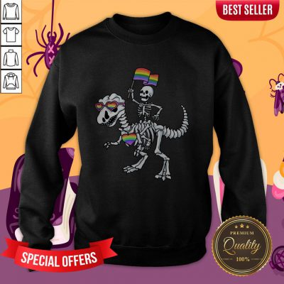Halloween LGBT T Rex Dinosaur Skeleton Gay Pride Sweatshirt