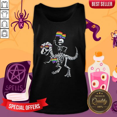 Halloween LGBT T Rex Dinosaur Skeleton Gay Pride Tank Top
