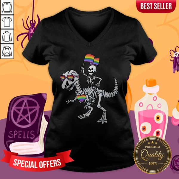 Halloween LGBT T Rex Dinosaur Skeleton Gay Pride V-neck