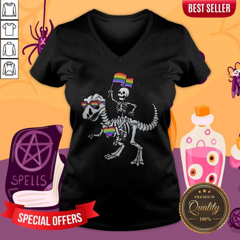 Halloween LGBT T Rex Dinosaur Skeleton Gay Pride V-neck