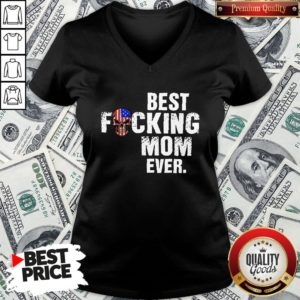 Happy Skull American Flag Best Fucking Mom Ever V-neck - Design By Waretees.com