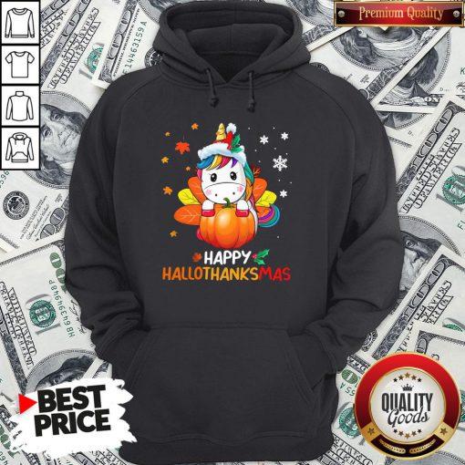Hot Unicorn Happy Hallothanksmas Hoodie - Design By Waretees.com