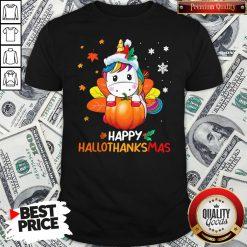 Hot Unicorn Happy Hallothanksmas Shirt - Design By Waretees.com