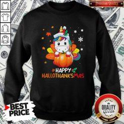 Hot Unicorn Happy Hallothanksmas Sweatshirt - Design By Waretees.com