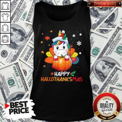 Hot Unicorn Happy Hallothanksmas Tank Top - Design By Waretees.com