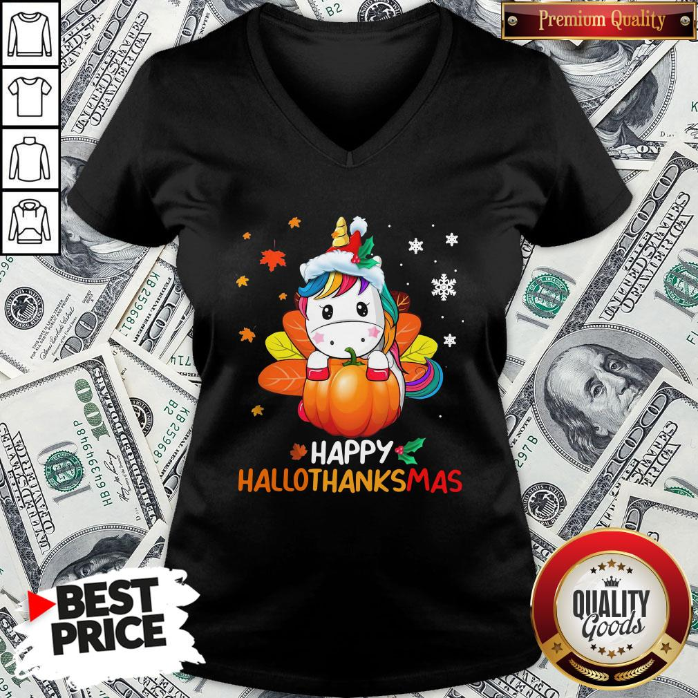Hot Unicorn Happy Hallothanksmas V-neck - Design By Waretees.com