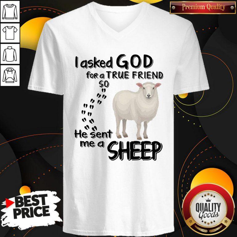 I Asked God For A True Friend I Asked God For A True Friend So He Sent Me A Sheep V-neckSo He Sent Me A Sheep V-neck