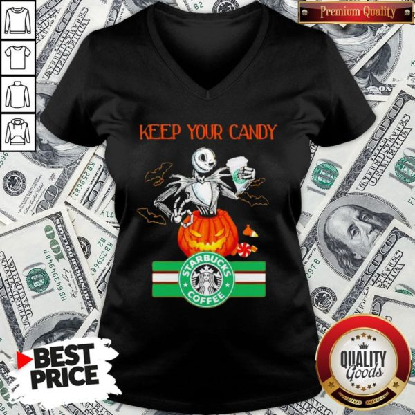 Jack Skellington Keep Your Candy I'll Have Starbuck Coffee V-neck - Design By Waretees.com