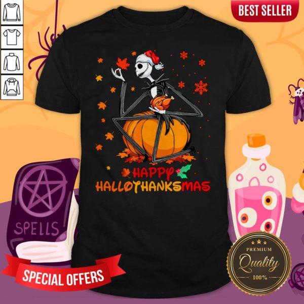 Jack Skellington With Santa HaJack Skellington With Santa Hat Happy Hallothanksmas Shirtt Happy Hallothanksmas Shirt