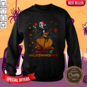 Jack Skellington With Santa Hat Happy Hallothanksmas Sweatshirt