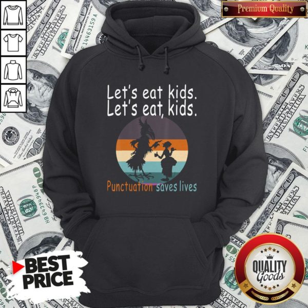 Lets Eat Kids Punctuation Saves Lives Teacher Halloween Vintage Retro Hoodie - Design By Waretees.com