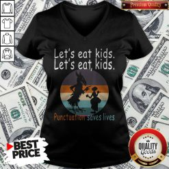 Lets Eat Kids Punctuation Saves Lives Teacher Halloween Vintage Retro V-neck - Design By Waretees.com