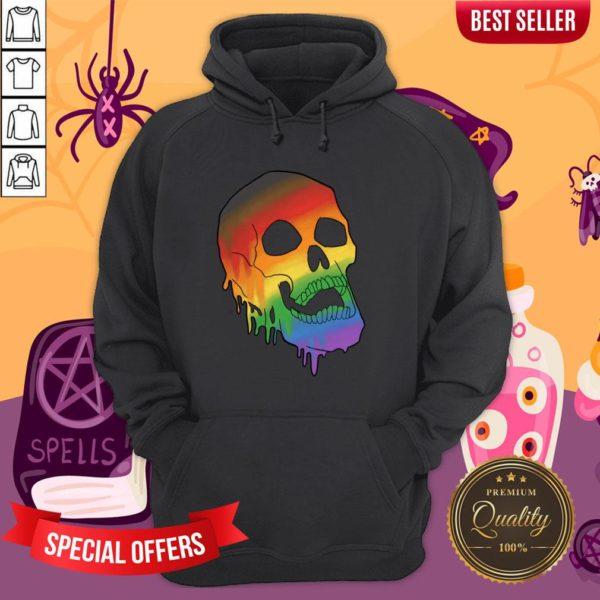 LGBT Pride Melting Skull Gay Flag Halloween Hoodie