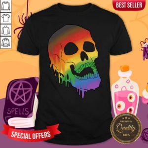 LGBT Pride Melting Skull Gay Flag Halloween Shirt