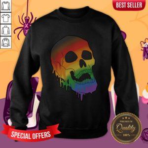 LGBT Pride Melting Skull Gay Flag Halloween Sweatshirt