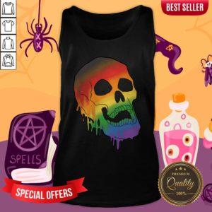LGBT Pride Melting Skull Gay Flag Halloween Tank Top