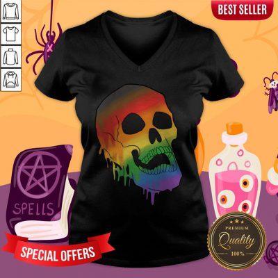 LGBT Pride Melting Skull Gay FLGBT Pride Melting Skull Gay Flag Halloween V-necklag Halloween V-neck