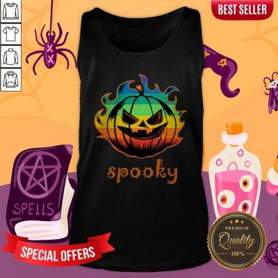 LGBT Pumpkin Fire Spooky Halloween Tank Top