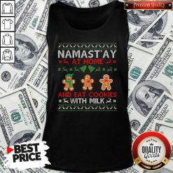 Love Namastay At Home And Eat Cookies With Milk Christmas Tank Top - Design By Waretees.com