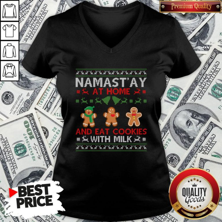 Love Namastay At Home And Eat Cookies With Milk Christmas V-neck - Design By Waretees.com