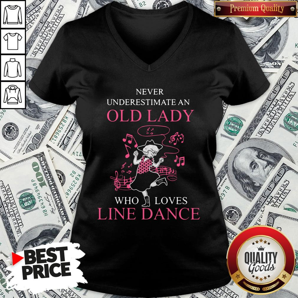 Never Underestimate Old Lady Who Loves Line Dance V-neck - Design By Waretees.com
