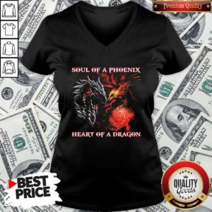 Nice Dragon Soul Of A Phoenix Heart Of A Dragon V-neck - Design By Waretees.com