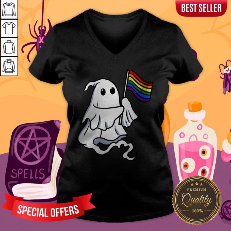 Nice LGBT Ghost For Gay Halloween V-neck