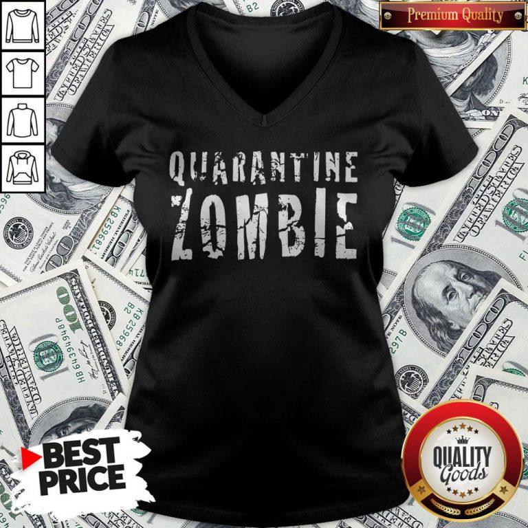 Official Quarantine Zombie V-neck - Design By Waretees.com