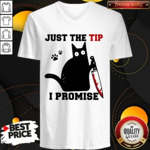 Perfect Black Cat Just The Tip I Promise V-neck- Design By Waretees.com