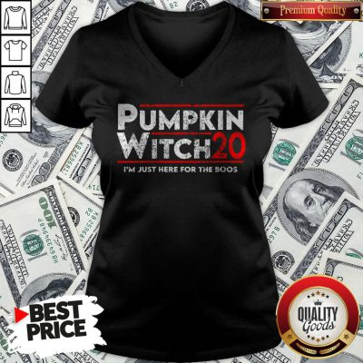 Pumpkin Witch Halloween Election 2020 I'm Just Here For The Boos V-neck - Design By Waretees.com
