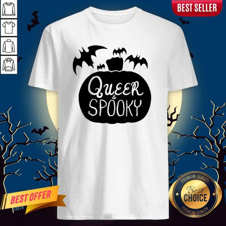 Queer And Spooky Pumpkin Bats Halloween Shirt