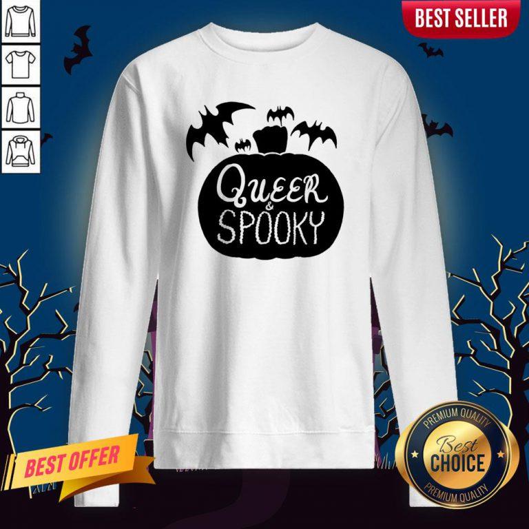 Queer And Spooky Pumpkin Bats Halloween Sweatshirt