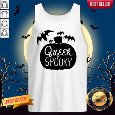 Queer And Spooky Pumpkin Bats Halloween Tank Top