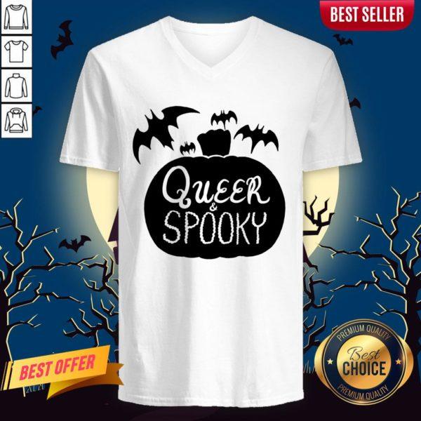 Queer And Spooky Pumpkin Bats Halloween V-neck