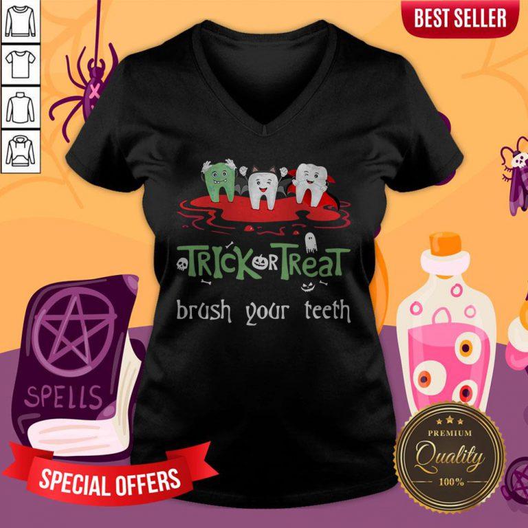 Trick Or Treat Brush Your Teeth Halloween V-neck