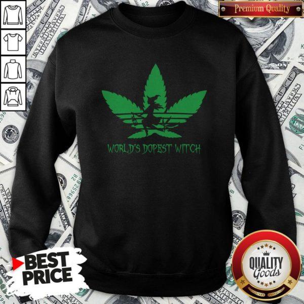 Weed World's Dopest Witch Adidas Halloween Sweatshirt
