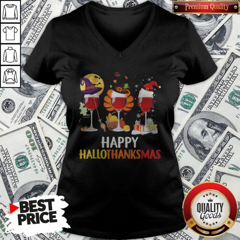 Wine Halloween Thanksgiving Christmas Happy Hallothanksmas V-neck - Design By Waretees.com