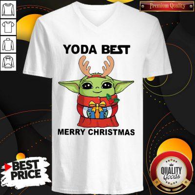 Yoda Reindeer Best Merry Christmas V-neck