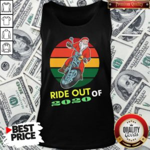 Awesome Ride Out Of 2020 Santa Riding Motorcycle Christmas 2020 Vintage Retro Tank Top