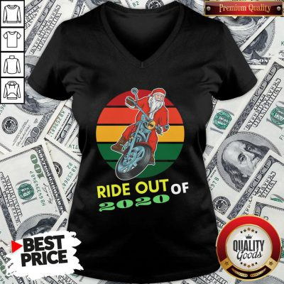Awesome Ride Out Of 2020 Santa Riding Motorcycle Christmas 2020 Vintage Retro V-neck