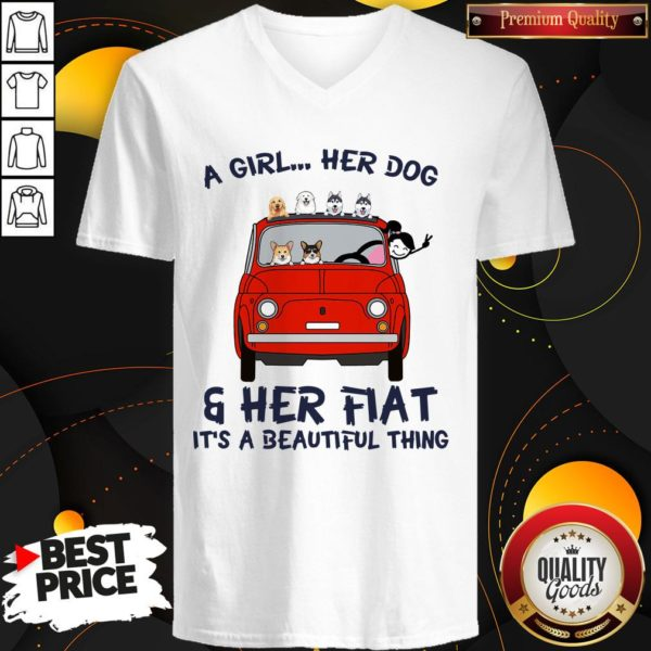 Cute A Girl Her Dog And Her Flat It's A Beautiful Thing V-neck